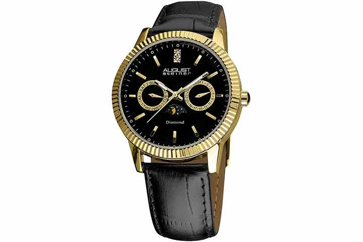 August Steiner Men's Multifunction Moon Phase Watch