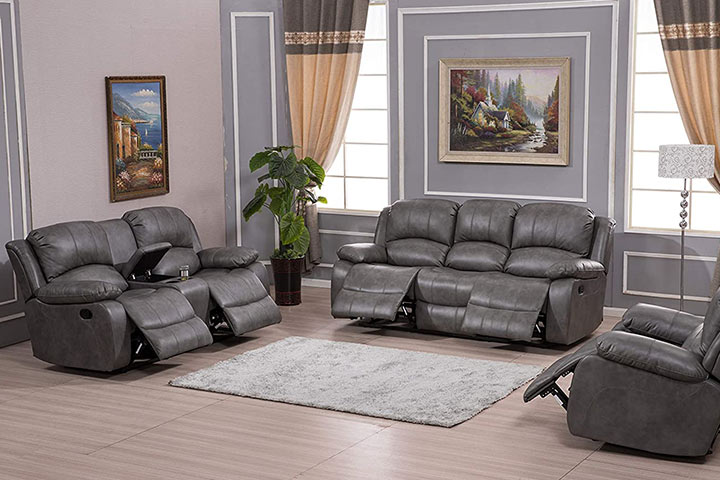 Betsy Furniture 3-Piece Bonded Leather Recliner Set