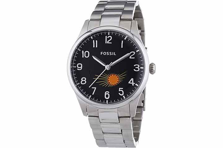 Fossil The Agent Three-Hand Moon Phase Stainless Steel Watch