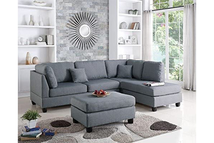 Poundex Upholstered Sectional Sofa With Ottoman Set