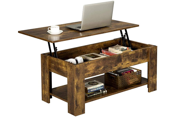 Yaheetech Rustic Lift Top Coffee Table
