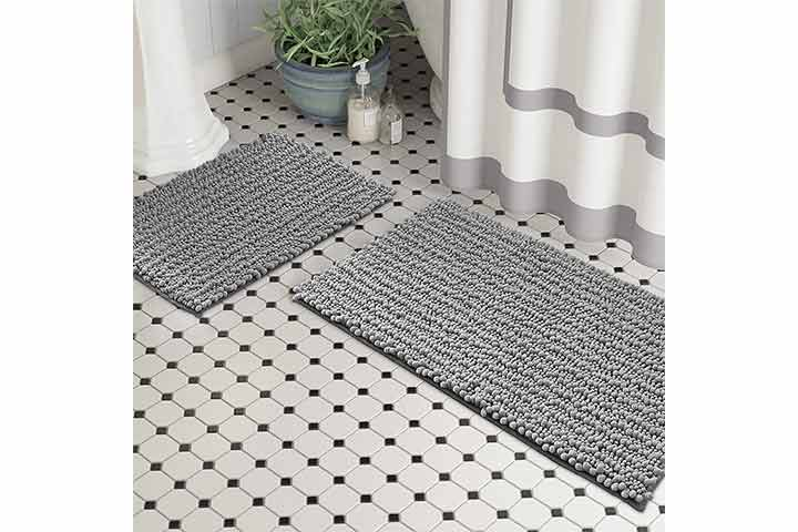 Zebrux Non-Slip Thick Shaggy Bathroom Rugs