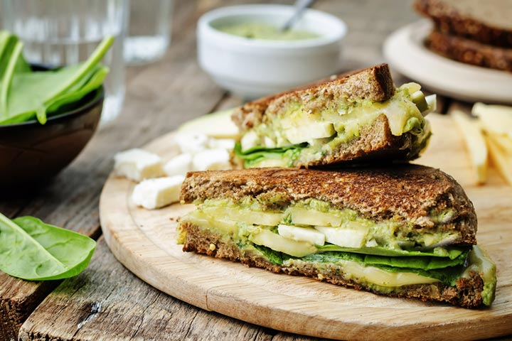 Avocado and cheese sandwich
