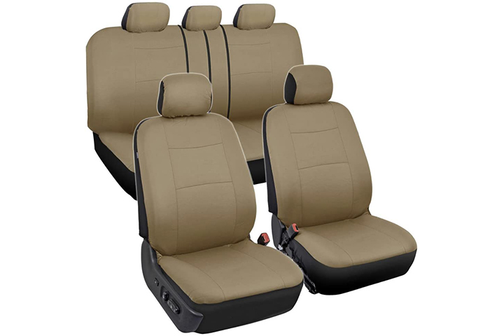BDK Tan Trim Black Car Seat Covers