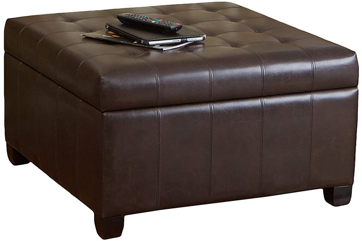 Christopher Knight Home Bonded Leather Storage Ottoman
