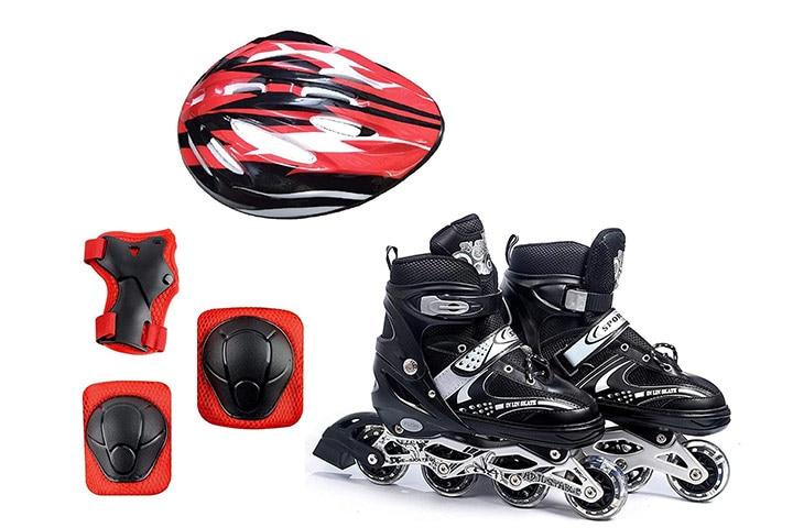 Diswa Adjustable Aluminum Inline Skates Combo Set For Boys And Girls