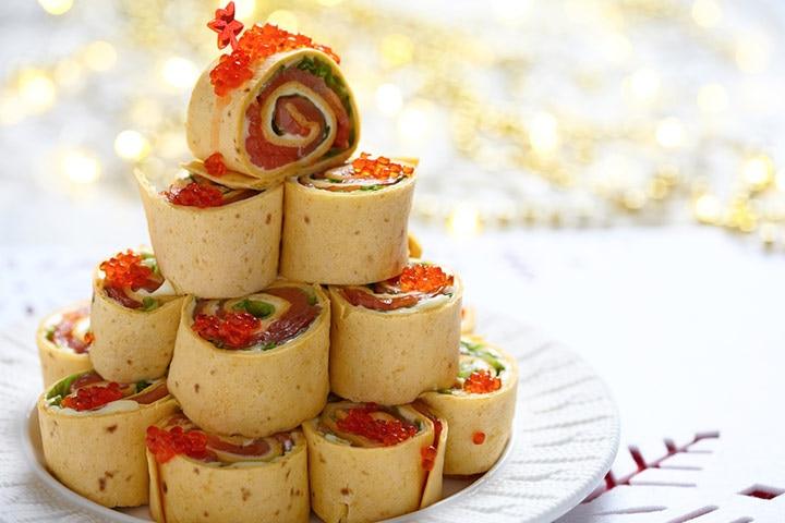 Smoked salmon pinwheel sandwich