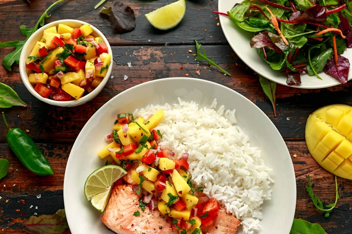 Spicy fish, mango, and herb salad