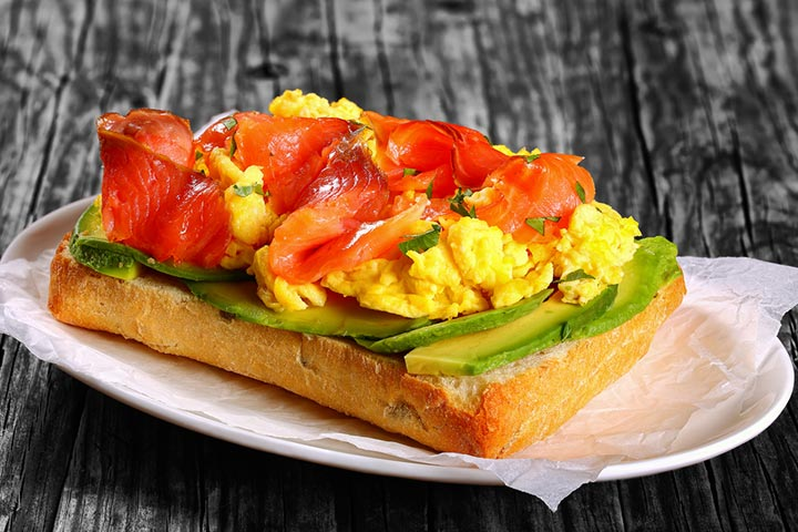 Trout toast with scrambled eggs