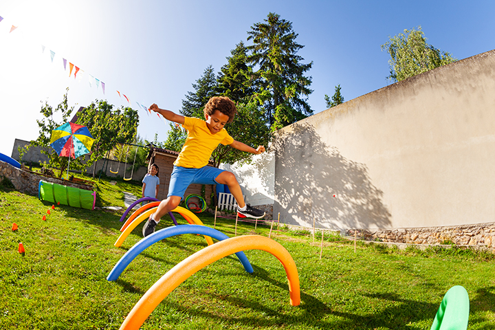 Create a pool noodle obstacle course