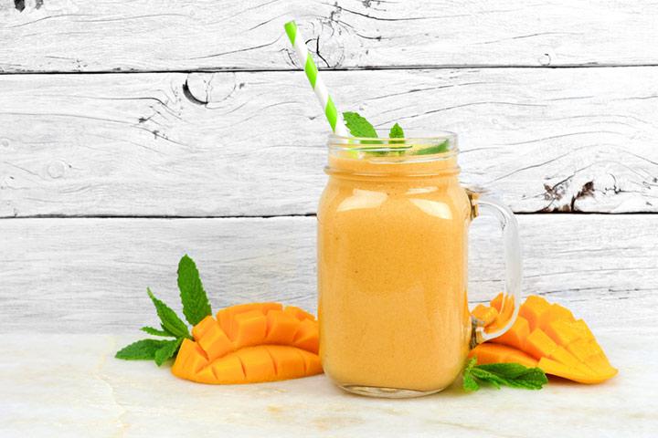 Tropical mango and coconut smoothie