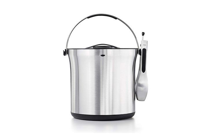OXO Stainless Steel Ice Bucket And Tongs Set