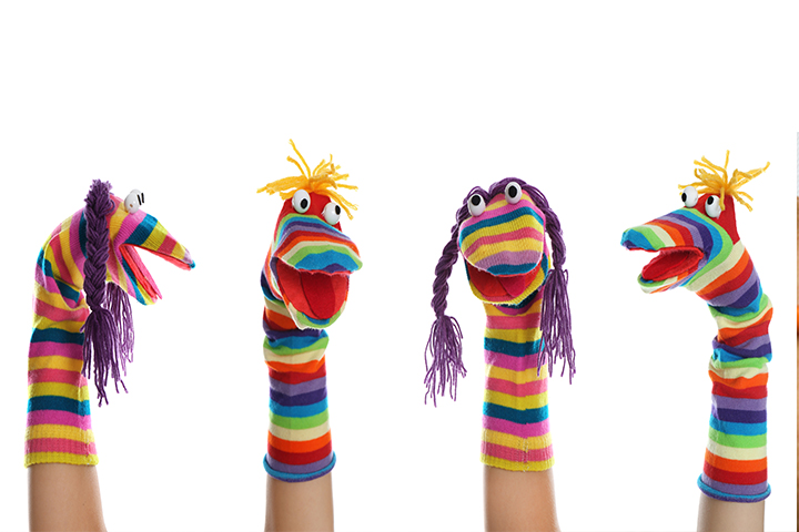 Put on a show with sock puppets