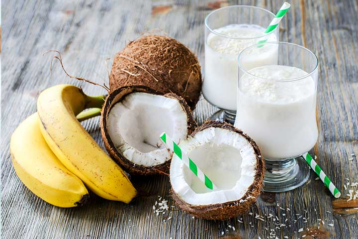 Refreshing banana and coconut drink