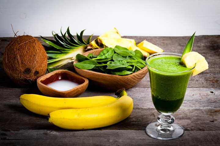 Tropical green smoothie drink