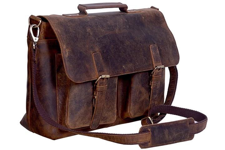 KomalC Retro Buffalo Hunter Leather Laptop Messenger Bag