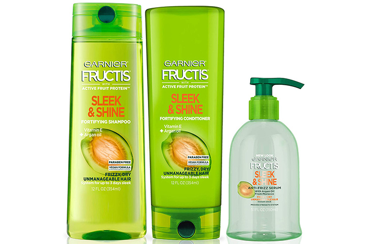 Garnier Fructis Sleek And Shine Shampoo, Conditioner And Anti-Frizz Serum