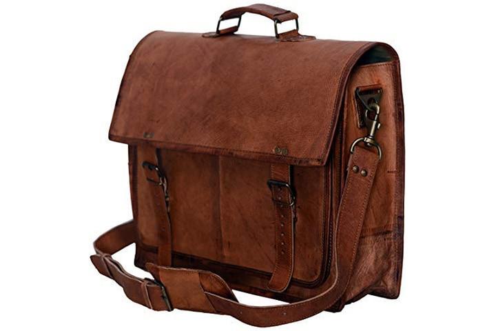 KomalC Passion Leather Vintage Handmade Leather Messenger Bag For Laptop