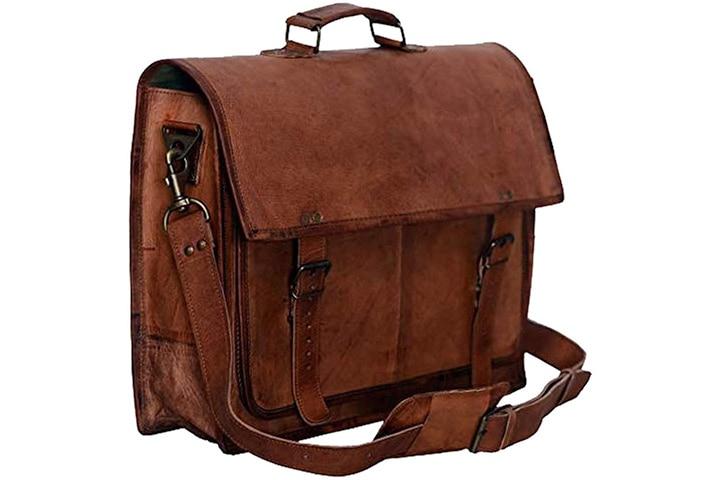 Passion Leather Retro Leather Briefcase Messenger Laptop Shoulder Bag