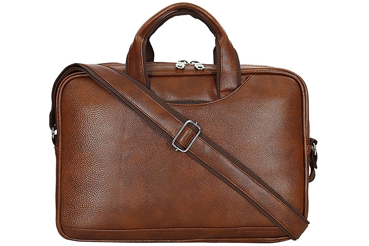 Storite PU Leather Laptop Organizer Bag For Men And Women