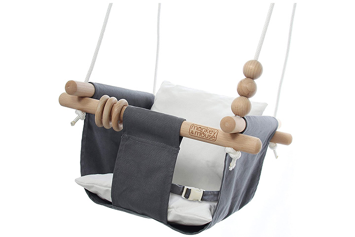Monkey & Mouse Secure Canvas and Wooden Hanging Swing