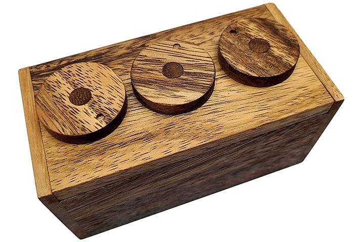 Playkids Three-Wheel Combination Secret Lock Puzzle Box