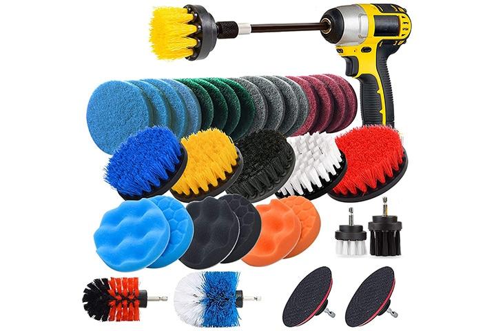 Jusoney Drill Brush Scrub Pads 37-Piece Power Scrubber Cleaning Kit