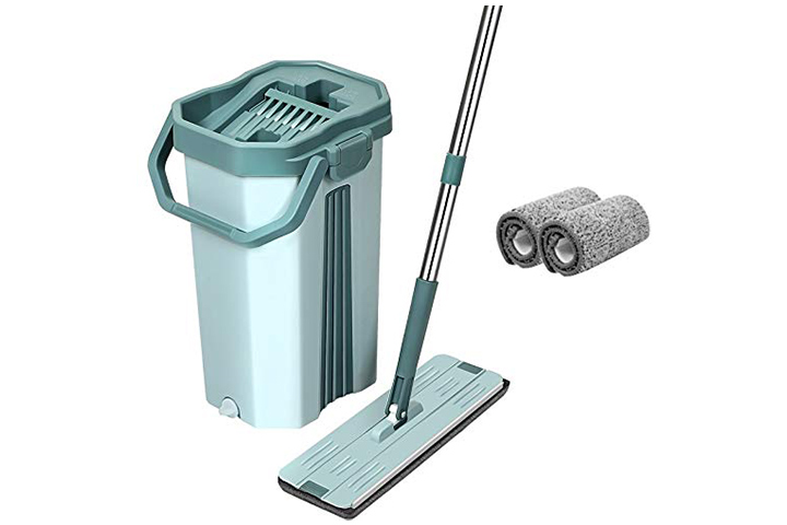 UPC Hands-Free Squeeze Microfiber Flat Spin Mop With Bucket