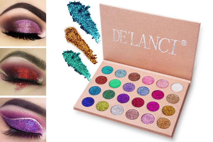DE'LANCI Highly-Pigmented Pressed Glitter Palette