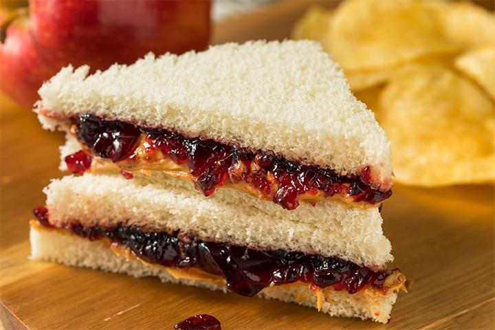 Peanut butter and jam sandwich (10 months)