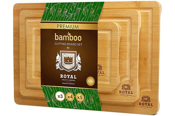 Royal Craft Wood Premium Bamboo Cutting Board Set