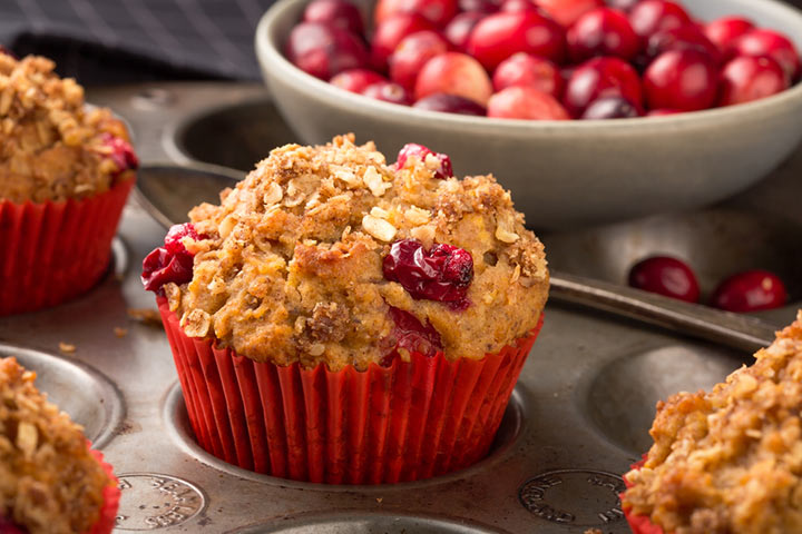 Oatmeal and cranberry muffin