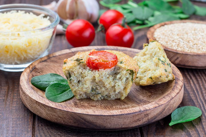 Quinoa, spinach, and goat cheese muffin
