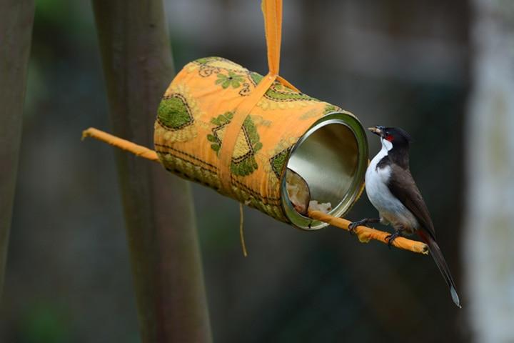 Paint can bird feeder