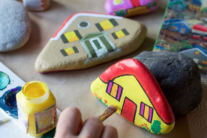 Painted rocks as toys