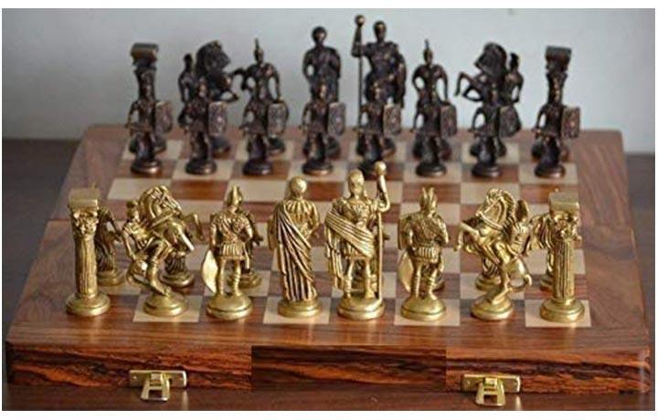 Skywalk Hand Crafted Roman Brass Chess Set