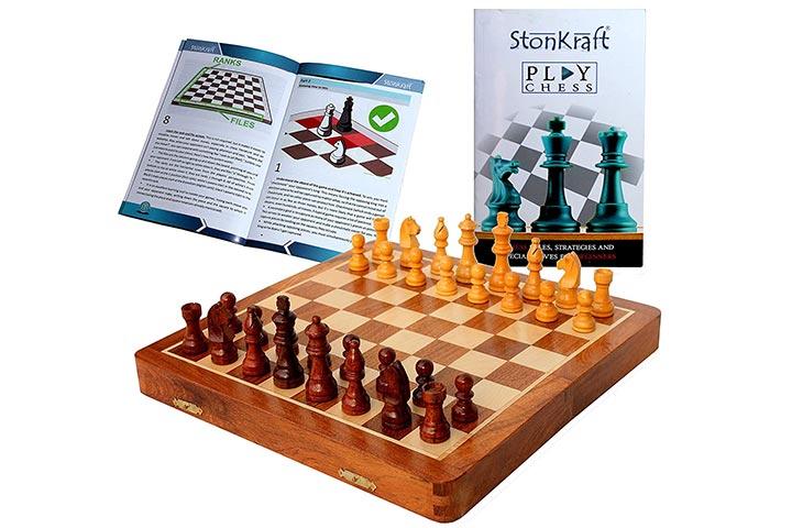 StonKraft Magnetic Wooden Chess Board