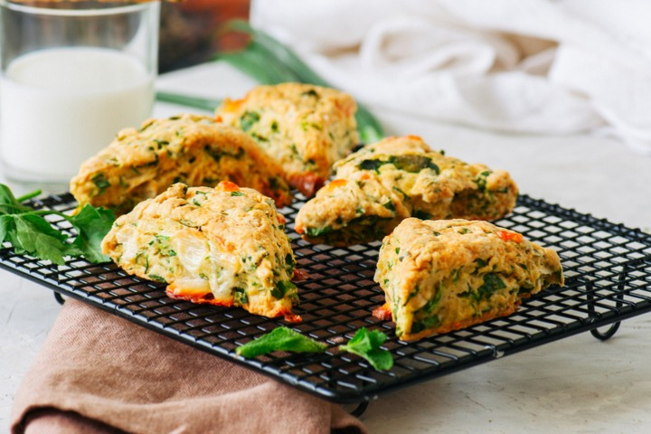 savory-scones-with-feta-mozarella-and-green-herbs-picture-id1155420666